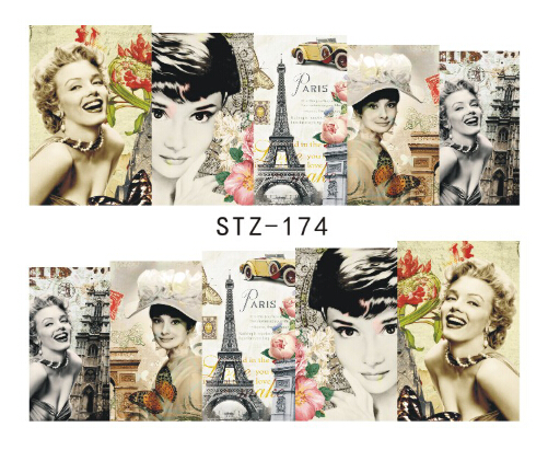 1sheet Sexy Women Nail Art Decals Water Transfer Stickers Full Cover Polish Manicure Wraps Decor Beauty Nail Tools #STZ-174(China (Mainland))