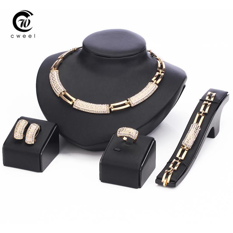 New 18 k Gold strip-type CZ diamond austrian Crystal Necklace Bracelet Earring Ring Jewelry Set<br><br>Aliexpress