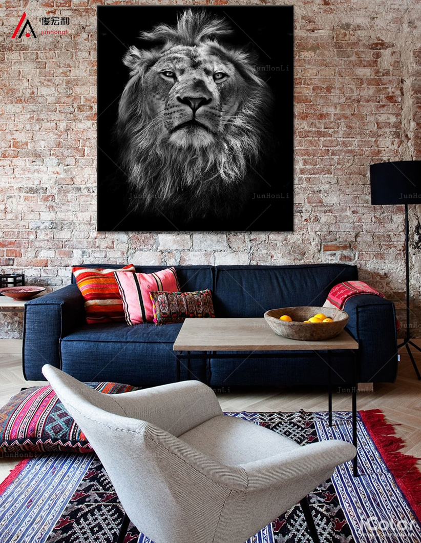 large canvas modern painting Black and white tigers and lions Canvas Art Home Decor Wall Print Canvas HD Print Painting(China (Mainland))
