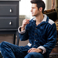 Pajama Men autumn and winter thickening male coral fleece sleepwear set long-sleeve flannel husband lounge hot sale(China (Mainland))
