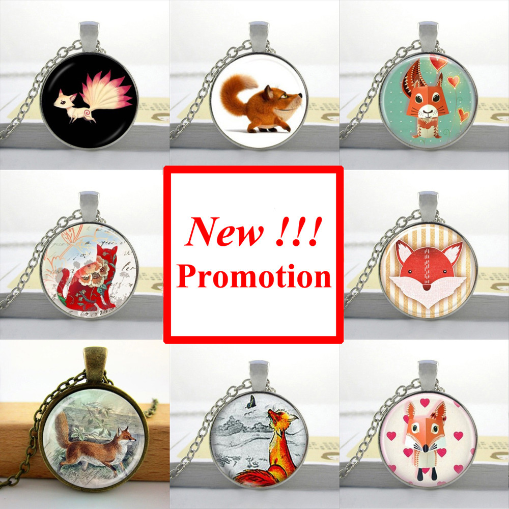 2015 New Fashion Picture Necklace Fox Pendant Necklace Animal Glass Jewelry Glass Cabochon Dome Pendant(China (Mainland))