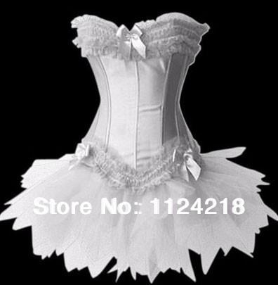2014 New Sexy Satin Lingerie Lace up Corset Bustier Mini Tutu Petticoat Skirt Fancy Dress Costume 3 Pieces 3Color S-2XL(China (Mainland))
