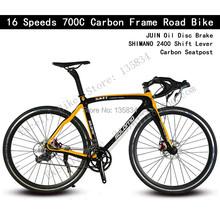 700C Bicicleta 16 Speeds Carbon Road Frame JUIN Oil Disc Brake SHIMANO2400 Shift Lever Carbon Seatpost Carbon Frame Road Bike(China (Mainland))