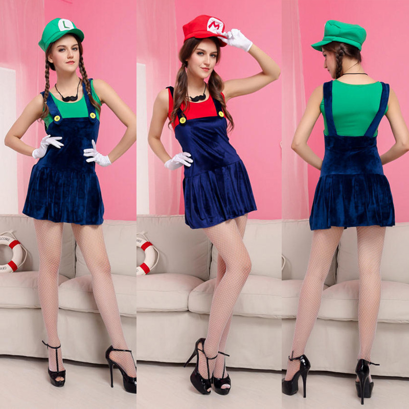 Fancy Dress Halloween Party Costume Womens Super Mario Luigi Brothers Plumber Best Halloween Gift For Women Cosplay Dress(China (Mainland))
