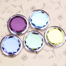 Metal Pocket Mirror Makeup Fold Round Crystal Compact Mirror Portable Cute Metal Espelho De Bolso For Personalized Wedding Gifts