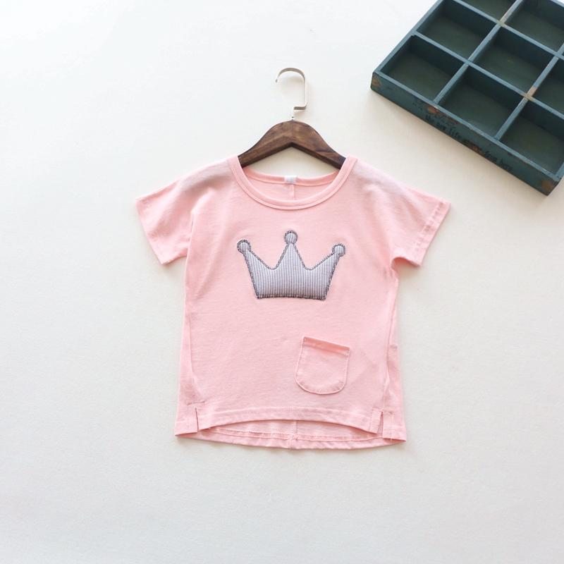 New 2016 summer baby girls short sleeve T-shirt Crown T-shirt boy child children fashion cute tops()