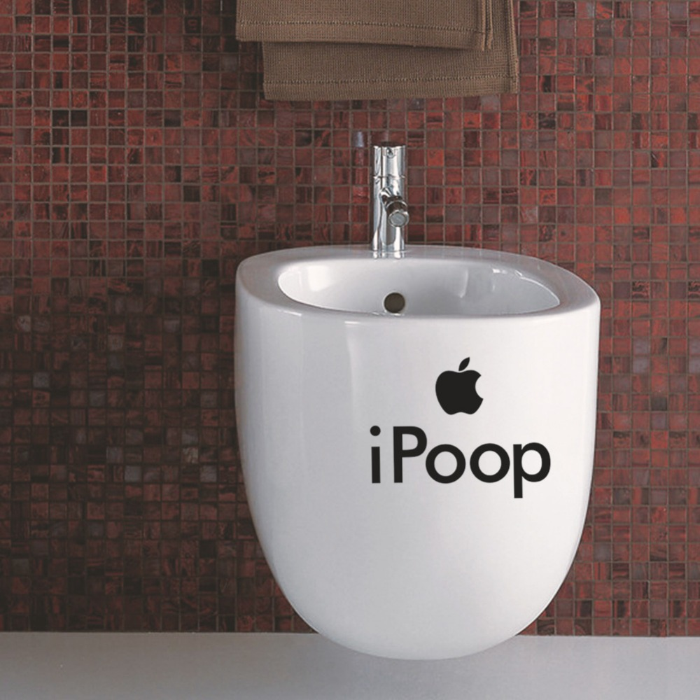 """3ps wall sticker """"Ipoop"""" on the bathroom toilet sticker, funny home decoration Cupboard Glass Door Decor free shipping(China (Mainland))"""