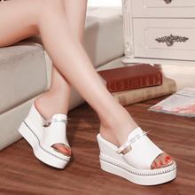 2016 fashion open toe platform slippers female platform wedges drag rhinestone high-heeled sandals female(China (Mainland))
