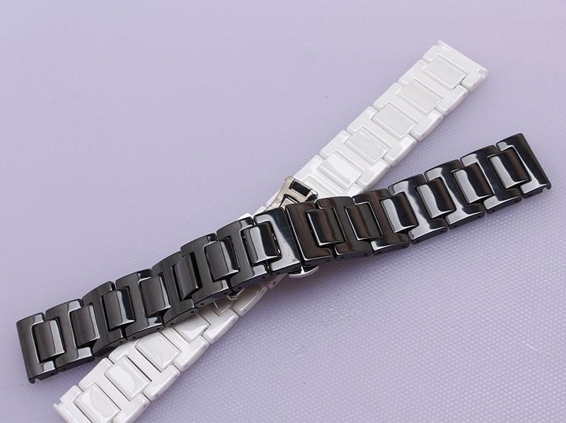 Черный Белый Керамический с silver из нержавеющей стали пряжка Ремешки Для Наручных Часов 14 мм 16 мм 18 мм 20 мм яркие красивые часы ремешок ремешок браслет