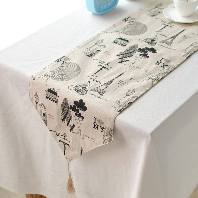 2015 Fashion Table Runner Woven RectanglePrinted Linen Runners For Wedding Party Dinning Coffee Tables Flag Home Decoration(China (Mainland))