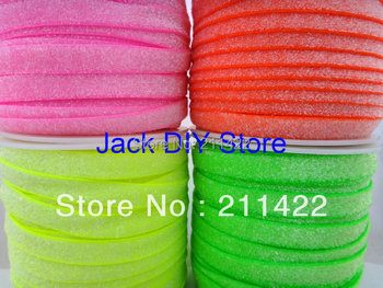 """4rolls 50yards/roll 3/8"""" Frosted Neon yellow  Neon Green Neon Pink Neon Orange Glitter Elastic Hair Accessories DHLFree Shipping"""
