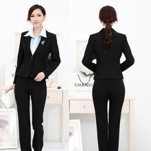 New 2014 Spring Autumn Formal Pantsuit Women Business Suits blazer Feminino Ladies Professional Office Uniform Styles Black
