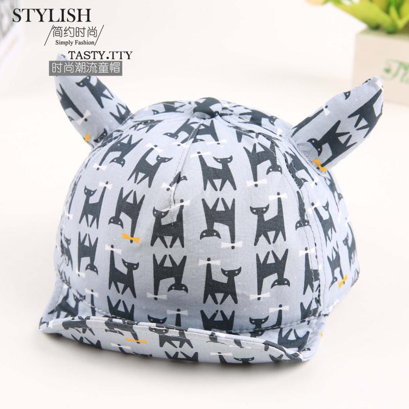 2016 New Baby Hat with Ears Beard Stars Animal Cat Cartoon Kids Baseball Hat Summer Baby Boy Sun Hats Cotton Caps Girls Visors(China (Mainland))