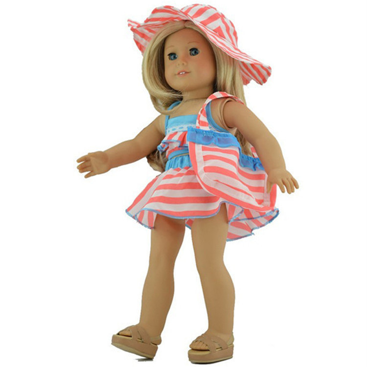 18 inch doll clothes and accessories Pink Bikini Swimsuit Swimwear for american girl doll(China (Mainland))