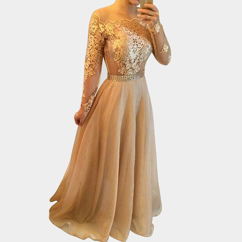 ... Sleeves Chiffon Lace Sheer Arabic Gold Formal Evening Gowns Plus Size