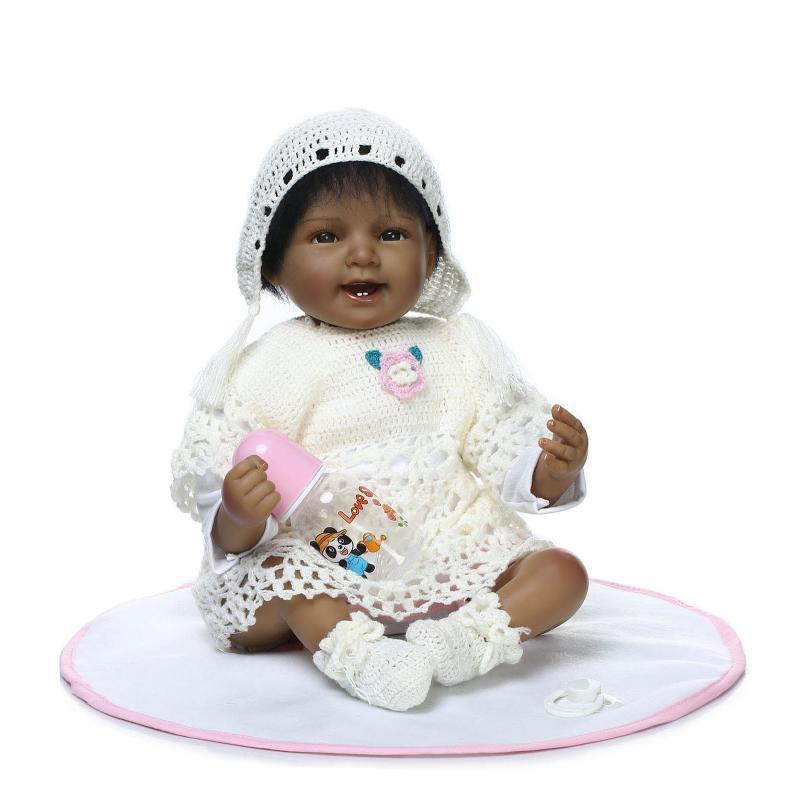 "[PCMOS] 2016 New 22"" Lifelike Reborn Native American Indian Baby Dolls Silicone Vinyl Handmade Free Shipping 16070606(China (Mainland))"