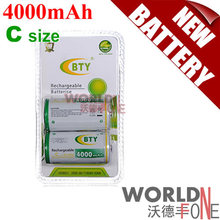 2PCS/Pack BTY High-capacity 4000mAh C Size 1.2V HR14 Ni-MH Rechargeable Battery (WF-RB053-2)(China (Mainland))