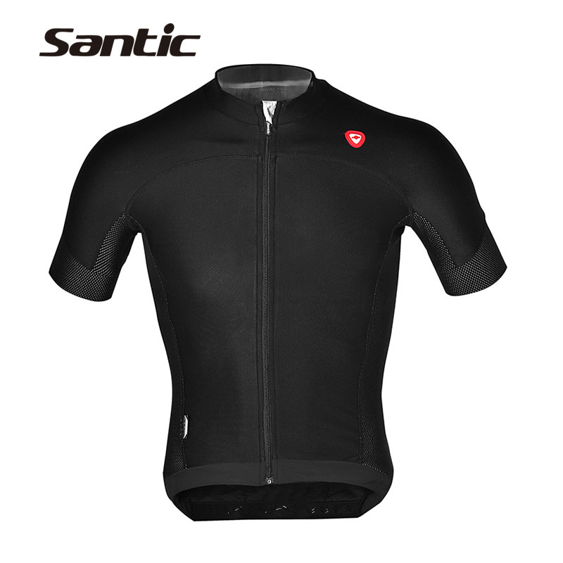 SANTIC Men's Mountain Road Bike Short Sleeve Jersey Bicycle Cycling Breathable Mesh Jersey Wear Clothing Quick Dry T-Shirts Tops