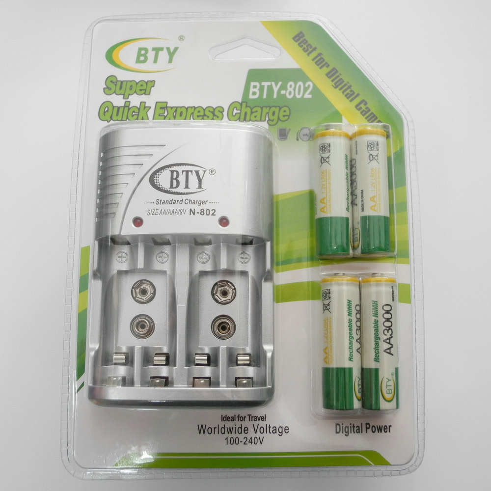 Anewkodi Cheaper BTY 802 1.2V AAA 4*1350mah Rechargeable Ni-MH Battery + BTY-802 AA/AAA Battery charger With Packing Case(China (Mainland))