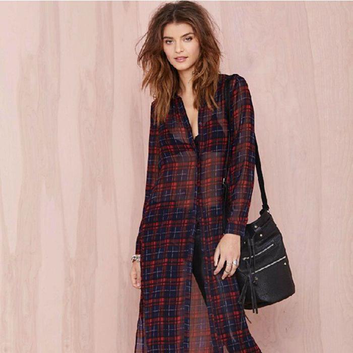 New Sexy Perspective Split Plaid Women Long Blouse font b Tartan b font Vintage Sheer Cardigan