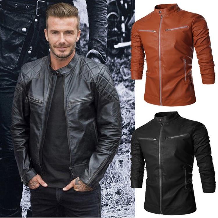 Fashion Slim Men Leather Clothing Spring Regular Solid Casual Men's Coats Brand New Design long Sleeve Leather David Beckham(China (Mainland))
