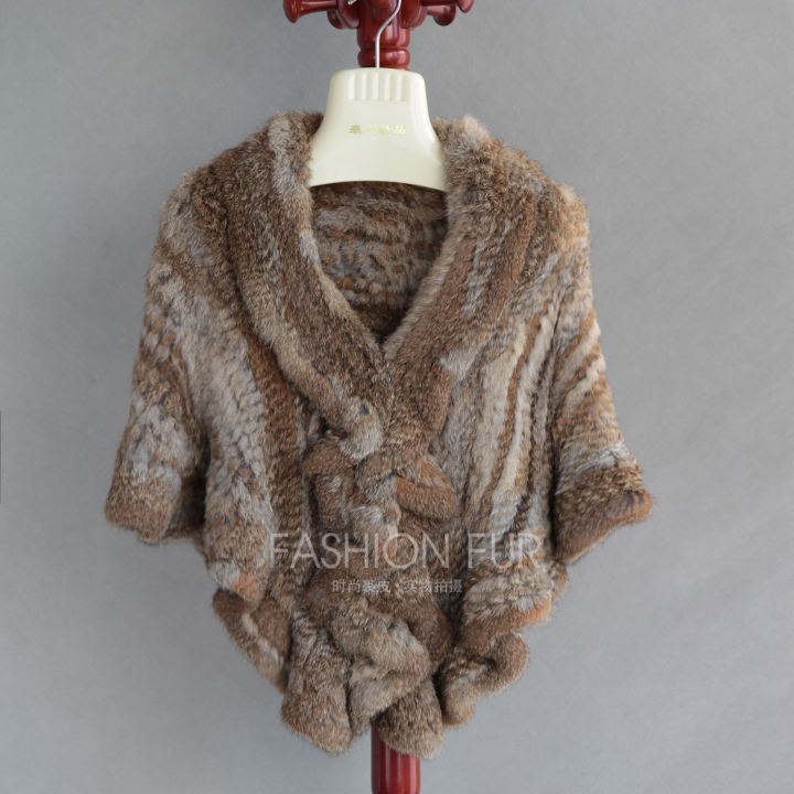 Chopop Fur 2015 Foreign Fur Product Knitted Rabbit Fur Shawl Cape Rabbit Fur Shawl Many Colors in Stock(China (Mainland))