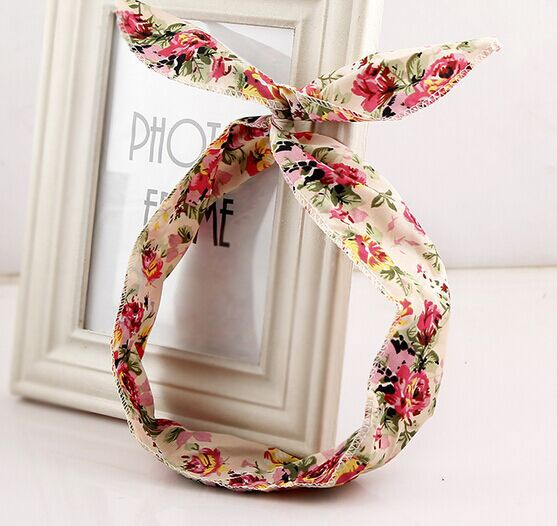 New fabric floral colorful cute bunny ear rabbit ear metal wire DIY bow headband sequin hairbands large bow clips(China (Mainland))