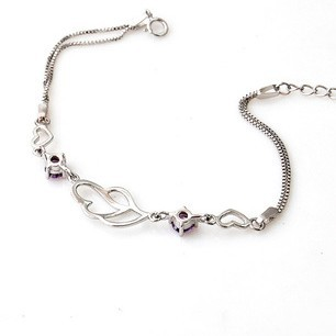 Fashion accessories 925 pure silver bracelet female bell love connected to the drop birthday gift popular jewelry amethyst