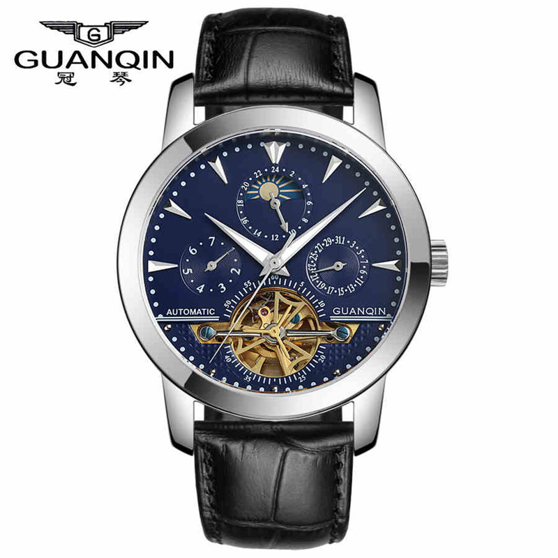 GUANQIN Sapphire Watch Tourbillon Watches Luxury Men Mechanical Watches Waterproof 100m Fashion Military Men Watch Hours 0740
