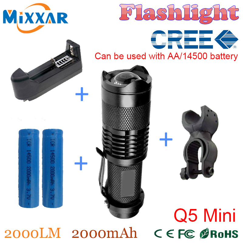 RUZK50 Bicycle Light LED Bike Light Front Torch CREE Q5 Mini 2000LM LED Flashlight 3 Modes Zoomable LED lanterna Waterproof(China (Mainland))