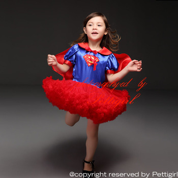 Pettigirl 2015 Fashion Halloween Super Girl TUTU Dress With Red Cape Ball Gown Chirstmas Party Dresses Children Costume Clothes