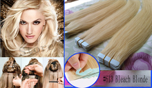 2015 New tape adhesive hair extension 40 pieces skin weft hair extensions #613 Bleach Blonde 100g 20''22''24''26inch Cheap(China (Mainland))