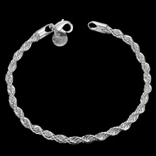 Hot sell  silver plated Bracelet, trendy style 20cm silver jewelry rope Bracelet  for women best gift free shipping LKH207(China (Mainland))