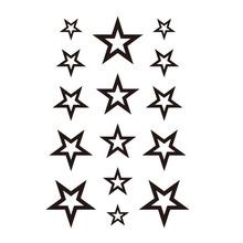 Новый Дизайн Полые Твердые Черный пятиконечная Звезда Полые Водонепроницаемый Временные Татуировки Наклейки(China (Mainland))