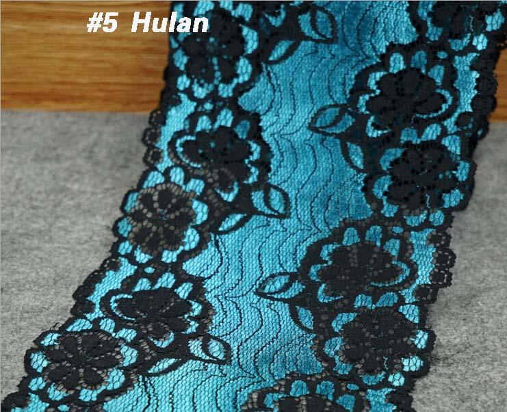 50 yards Black matrix Bilateral stretch lace embroidery ,18cm Net fabric trim ribbon accessories DIY wedding - PanLongHome Store store