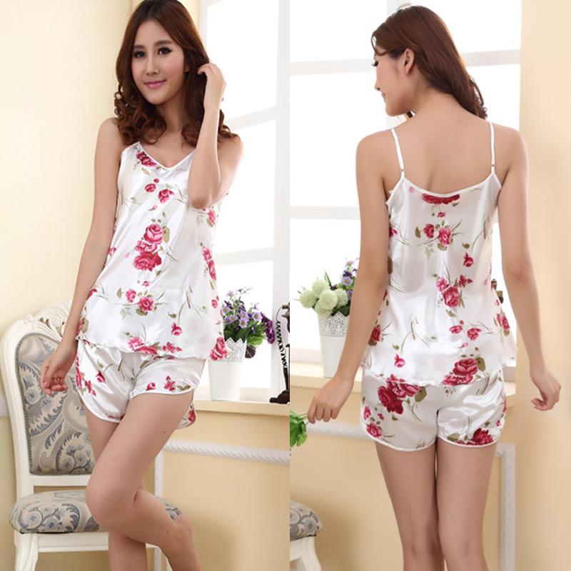 Women's Sexy Flower Sleepwear Braces Shirts + Shorts Underwear Pajamas Robes Set(China (Mainland))