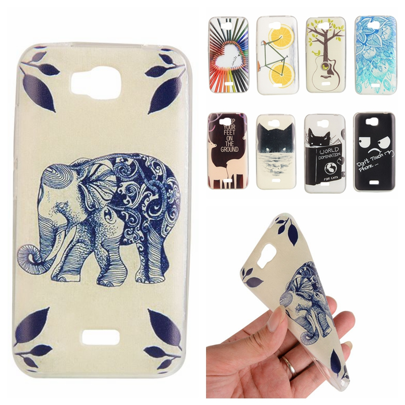 Cute Cartoon Painted Skin Clear Soft TPU Case For Huawei Y5 Ultra Slim Rubber Back Cover(China (Mainland))