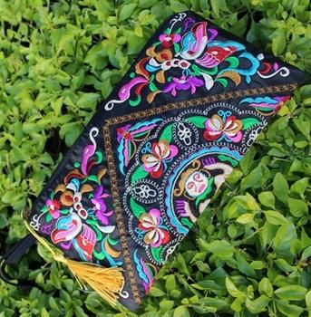 Новый элемент национальной тенденция вышивка сумка сумка для хранения кошелек двусторонний вышитые портмоне сумочка сцепления