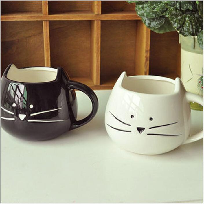 Black and white cat animal Couple Mug Mugs water cup birthday gift Valentine's Day gift(China (Mainland))