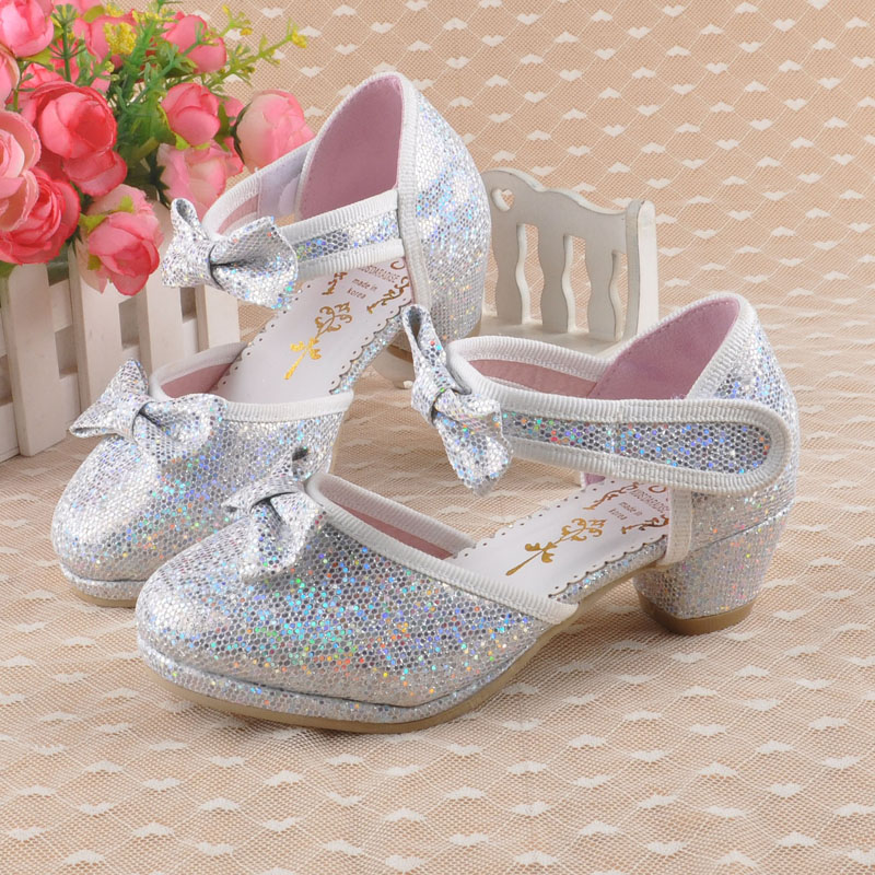 Spring And Autumn 2015 Princess High-heeled Shoes Girls Latin Dance Shoes Little Girls Party Shoes silver,gold,pink<br><br>Aliexpress
