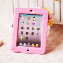 Dolls Toys For Girls Pink Computer Laptop Apple PAD 1/12 Dollhouse Miniature Furniture For BJD Doll (China (Mainland))