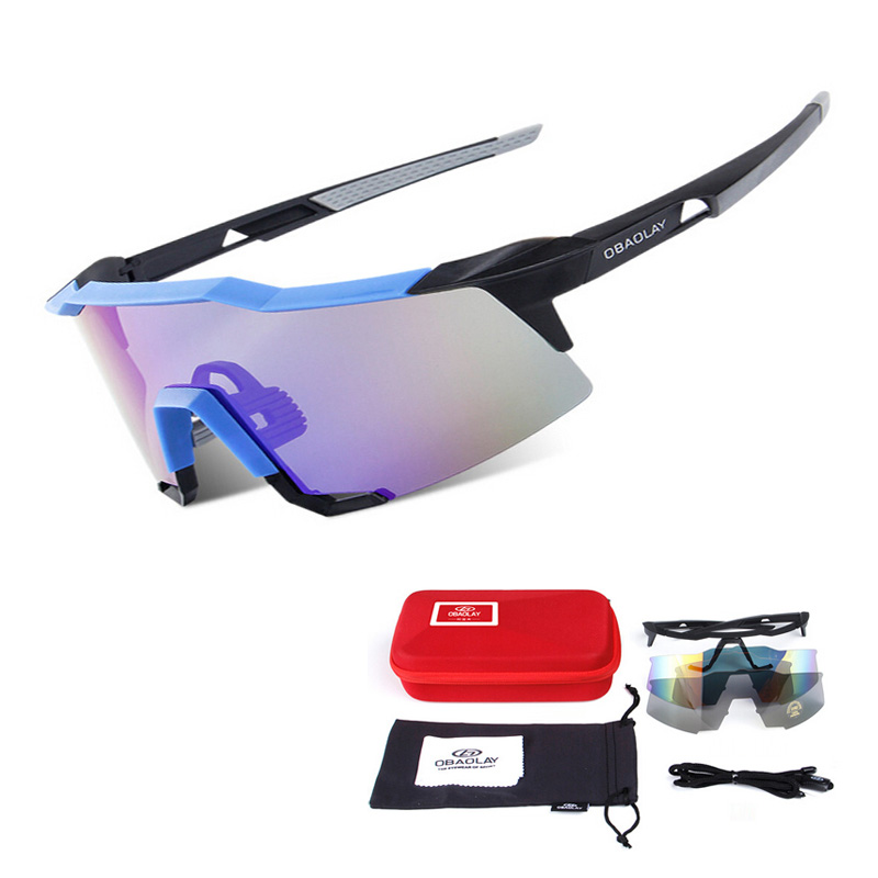 2016 New Brand Men Cycling Eyewear Outdoor Sports Sunglasses High Quality UV400 Polarized Bicycle Bike Glasses 2 Lens<br>