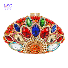 LaSC Newest Red stylish women evening bag Luxury Rhinestone clutch bag crystal handbags party purse wedding bag pochette SC106