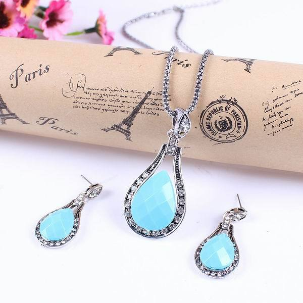 1Set Fashion Lady Blue Water Drop Style Crystal Alloy Long Chain Resin Necklace+Earrings Jewelry Gift GJG - ShangHai Aokeshen co., LTD store