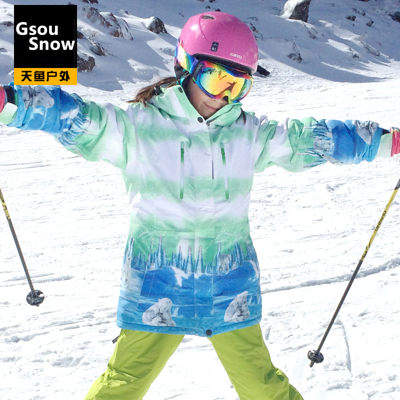 Outdoor ski suit Women single skiing clothing windproof waterproof thermal thickening skiing(China (Mainland))