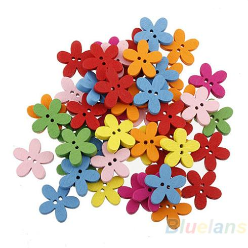 100pcs Colorful Flower Flatback DIY Wooden Buttons Sewing Craft Scrapbooking New 1HMN(China (Mainland))