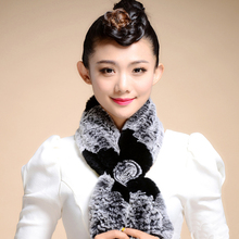 The New Lovely Womens Real Rex Rabbit thick warm Fur Scarves Design Girls Natural Fur Wraps Winter Soft Muffler(China (Mainland))