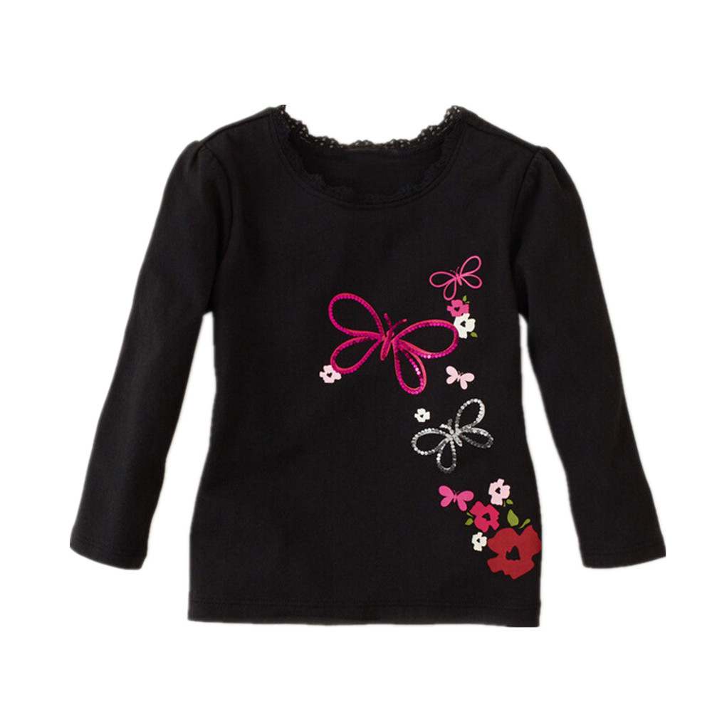 Black t shirt for babies - Girls Baby Cotton Butterfly Black Shirts Girl Kids Long Sleeve Children Clothing Tshirt Baby Girl Clothes Autumn 18m 6t
