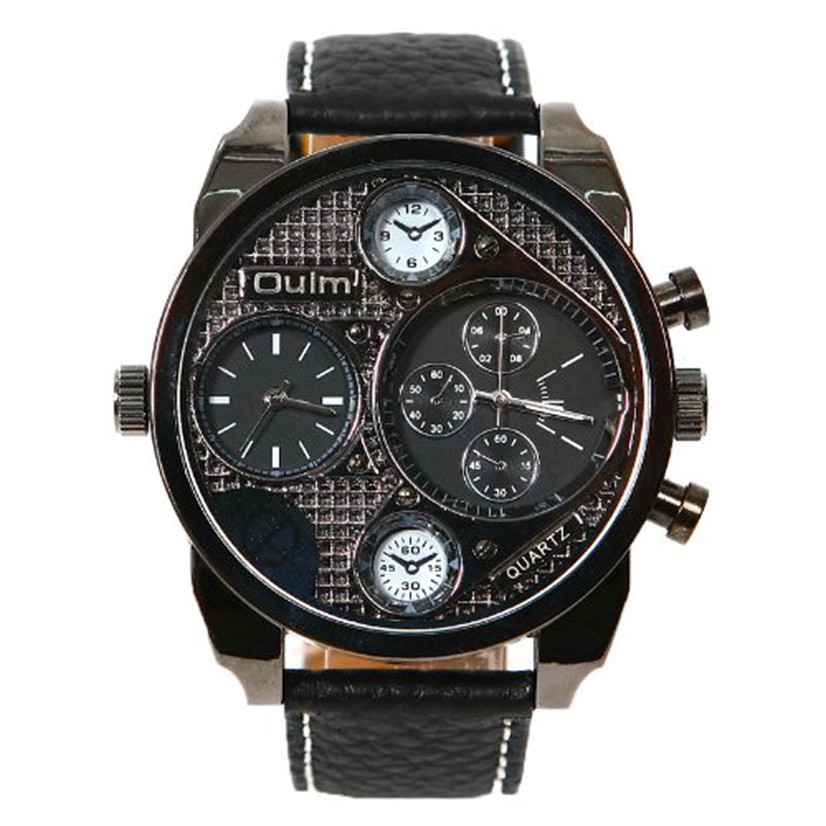 Hot Marketing High Quality Men's Large Dial 2 Time Zone Military Black Wrist Watches oulm MAY18(China (Mainland))