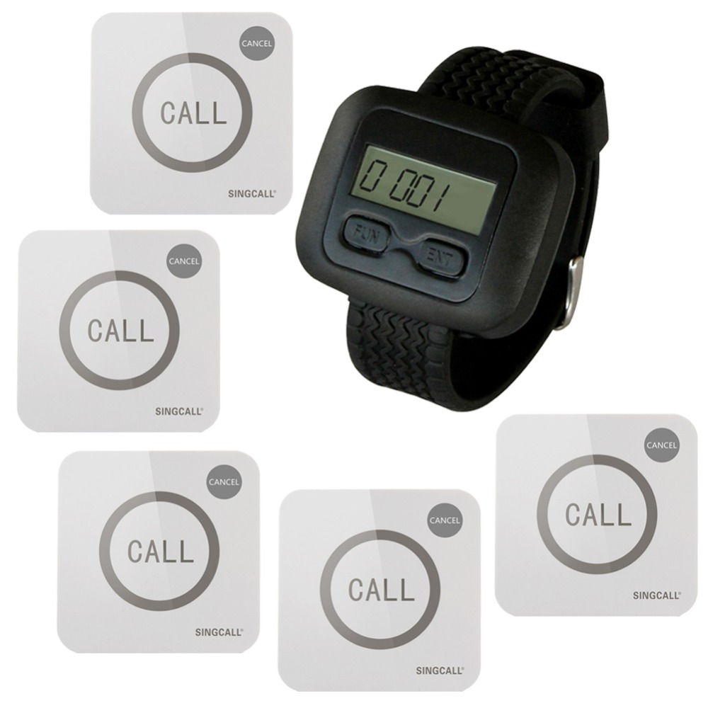 SINGCALL Wireless Nursing Calling System for Hospital 1 WatchReceiver and 5 Touchable Buttons